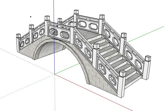 某中式石桥景观桥设计su模型