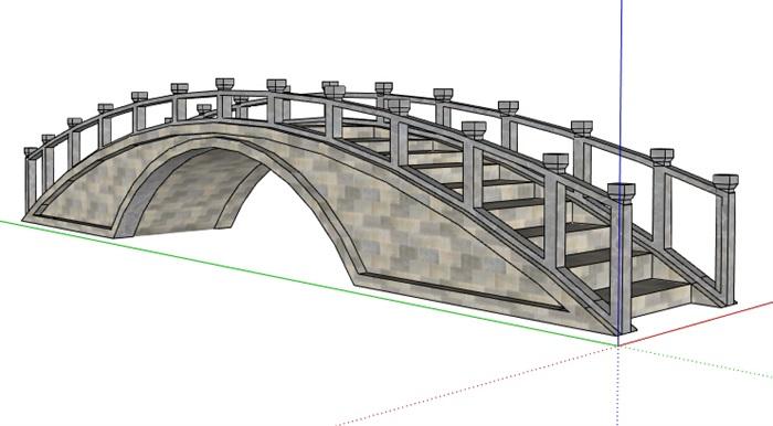 某中式景观拱桥设计su模型