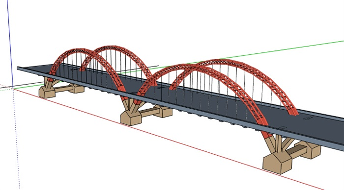 现代双拱形桥梁设计su模型[原创]