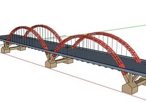 现代双拱形桥梁设计SU(草图大师)模型