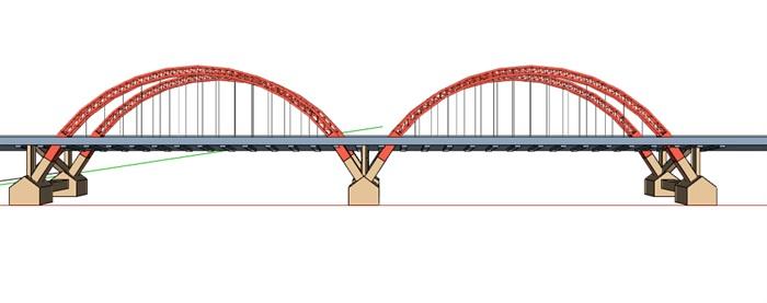 现代双拱形桥梁设计su模型