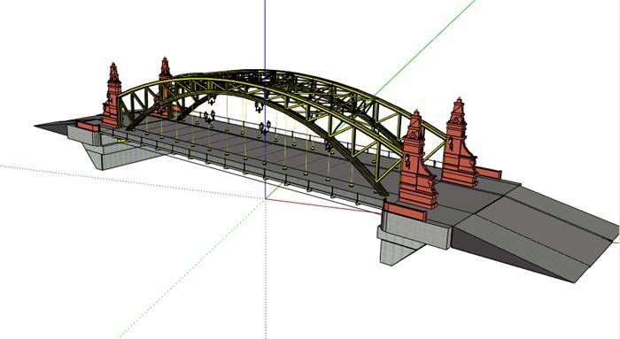 某现代钢结构桥梁设计su模型
