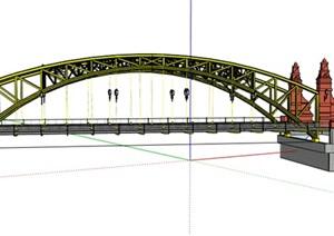 某现代钢结构桥梁设计SU(草图大师)模型