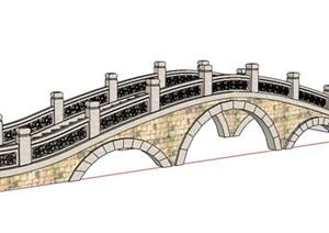 中式拱形石桥设计SU(草图大师)模型