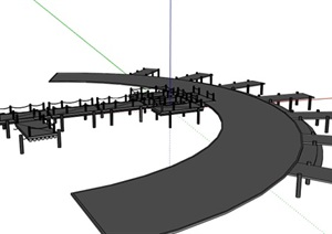 现代风格组合栈桥设计SU(草图大师)模型
