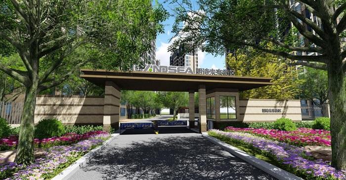 简约古典风格街区大门设计su模型