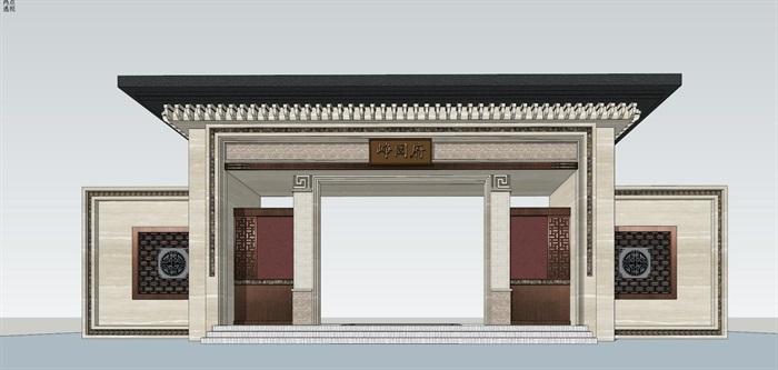 多款中式风格门头大门设计su模型