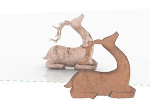 雕塑摆件铜质鹿SU(草图大师)模型