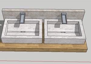 室内外双洗手池SU(草图大师)模型