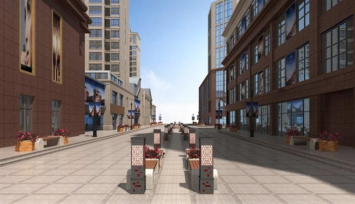 步行街详细设计3d模型[原创]图片
