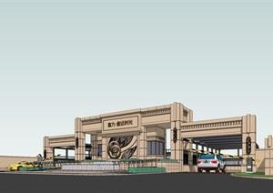 新古典风格居住区入口大门设计SU(草图大师)模型