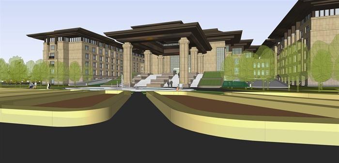 新亚洲中式商业会所su模型设计(1)