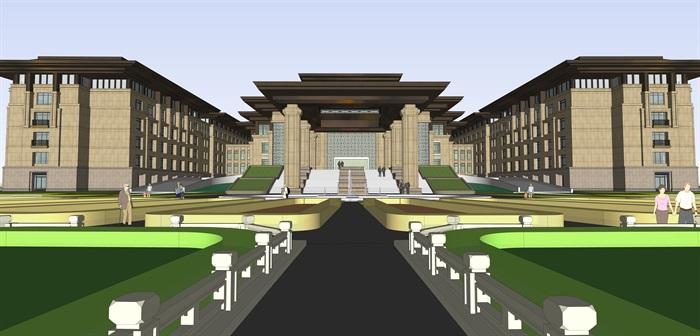 新亚洲中式商业会所su模型设计(2)