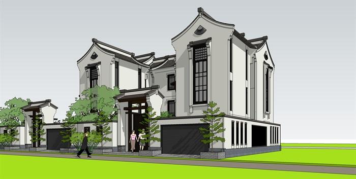 中式别墅精品su模型设计(1)