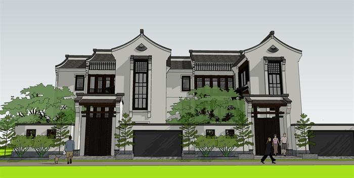 中式别墅精品su模型设计(2)