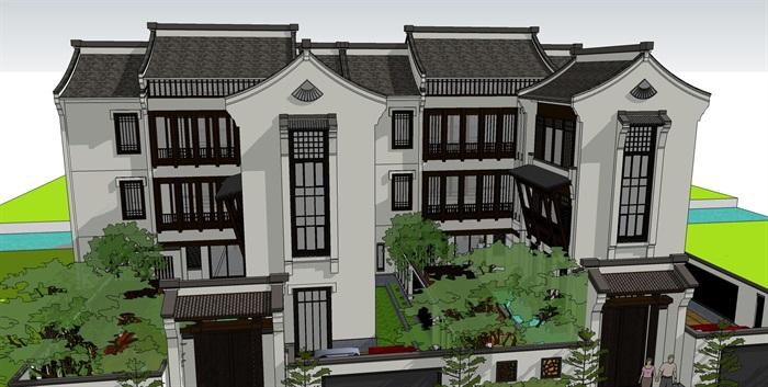 中式别墅精品su模型设计(3)
