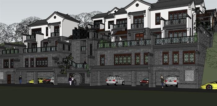 新中式阶梯式别墅su模型设计(1)