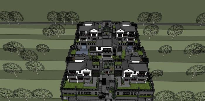 新中式阶梯式别墅su模型设计(3)