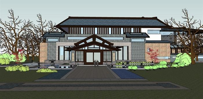 精品仿古中式会所酒店su模型设计(1)