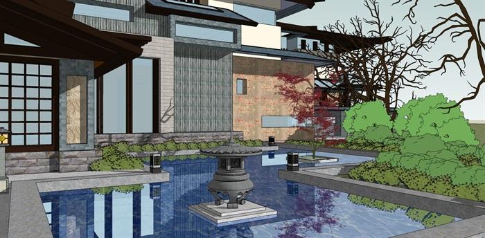 精品仿古中式会所酒店su模型设计(3)