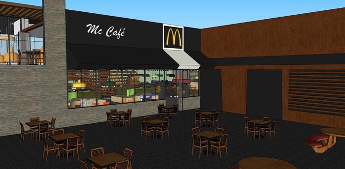 麦当劳快餐店室内设计su模型(2)