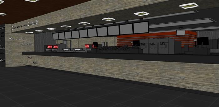 麦当劳快餐店室内设计su模型(3)