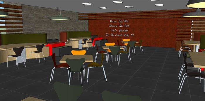 麦当劳快餐店室内设计su模型(5)