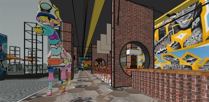 LOFT餐厅室内设计su模型(1)