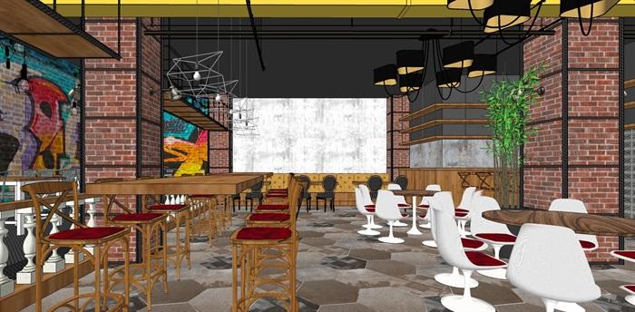 LOFT餐厅室内设计su模型(3)