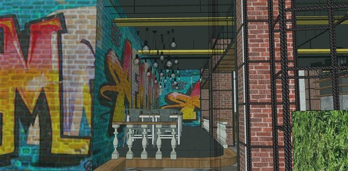 LOFT餐厅室内设计su模型(5)