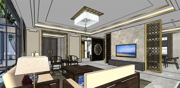 精品中式户型室内设计su模型(2)