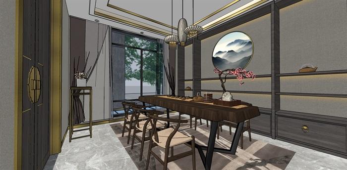 精品中式户型室内设计su模型(5)