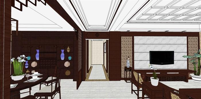 精品中式户型室内设计su模型(3)