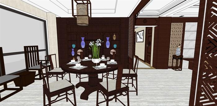 精品中式户型室内设计su模型(6)