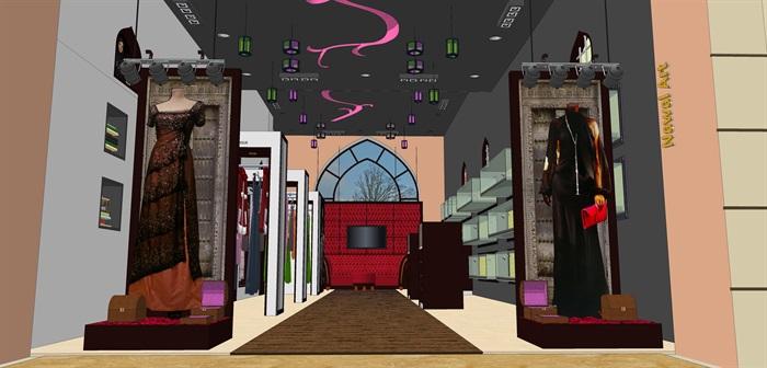 时尚精品服装店su室内模型设计(1)