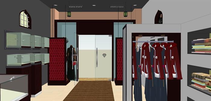 时尚精品服装店su室内模型设计(3)
