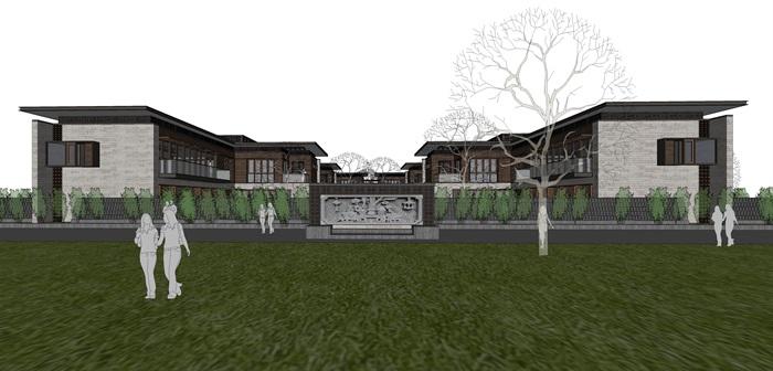 新亚洲中式别墅院落su模型设计(1)