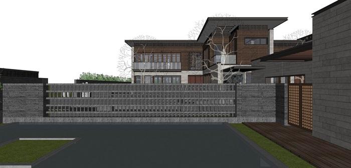 新亚洲中式别墅院落su模型设计(2)
