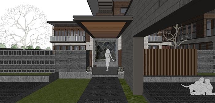 新亚洲中式别墅院落su模型设计(3)