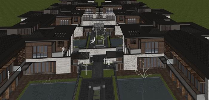 新亚洲中式别墅院落su模型设计(6)