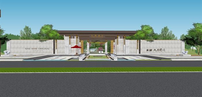 新亚洲中式小区入口大门及售楼部详细景观su模型设计(1)
