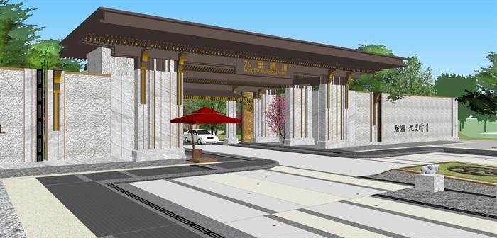 新亚洲中式小区入口大门及售楼部详细景观su模型设计(2)