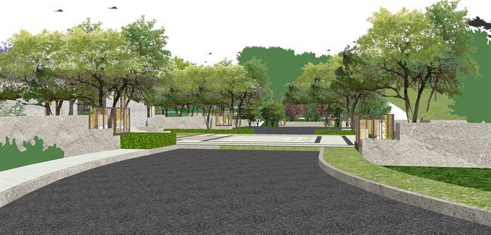 新亚洲中式小区入口大门及售楼部详细景观su模型设计(4)