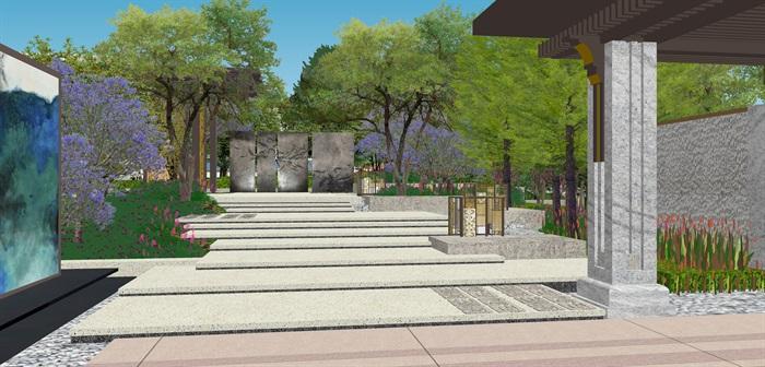 新亚洲中式小区入口大门及售楼部详细景观su模型设计(6)