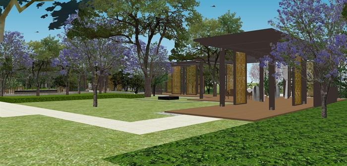 新亚洲中式小区入口大门及售楼部详细景观su模型设计(8)