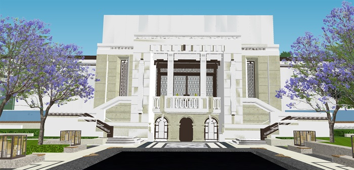 新亚洲中式小区入口大门及售楼部详细景观su模型设计(9)
