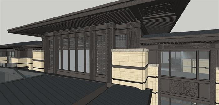 精品新亚洲会所建筑中式线脚细节su模型(5)
