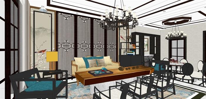 新中式客餐厅室内su模型设计(1)