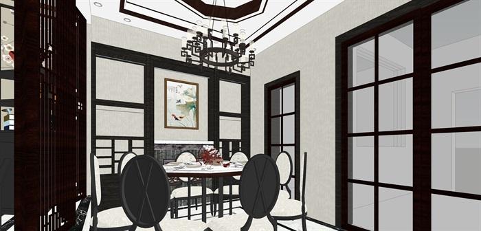 新中式客餐厅室内su模型设计(3)