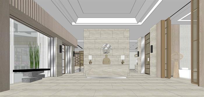 精品售楼处室内su模型设计(2)